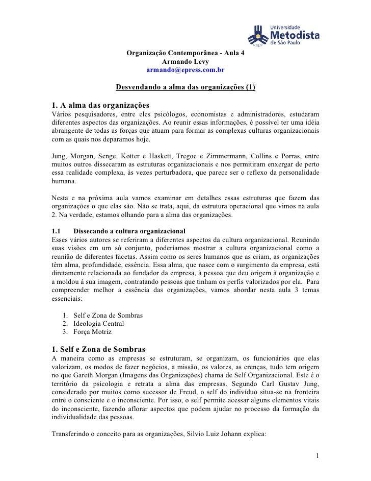 Organização Contemporânea - Aula 4                                     Armando Levy                                armando...