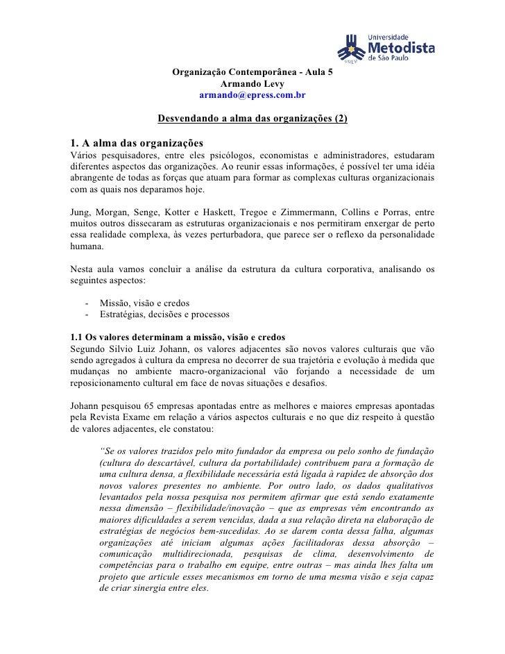 Organização Contemporânea - Aula 5                                    Armando Levy                               armando@e...
