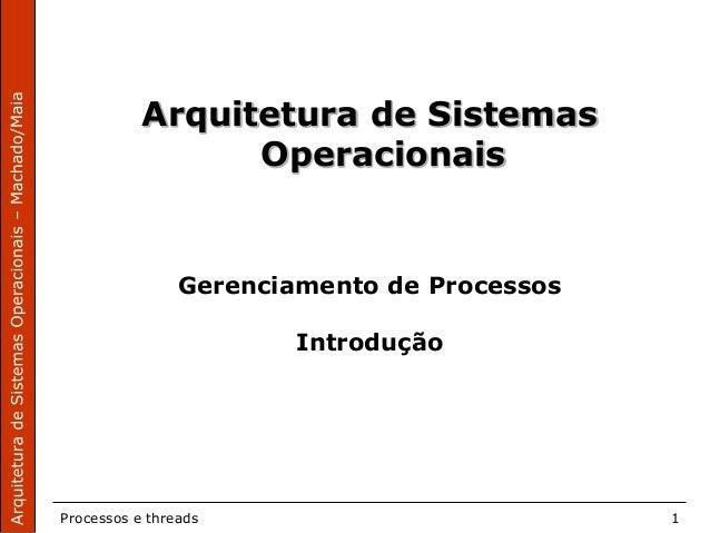 Processos e threads 1 Arquitetura de Sistemas Operacionais Gerenciamento de Processos Introdução