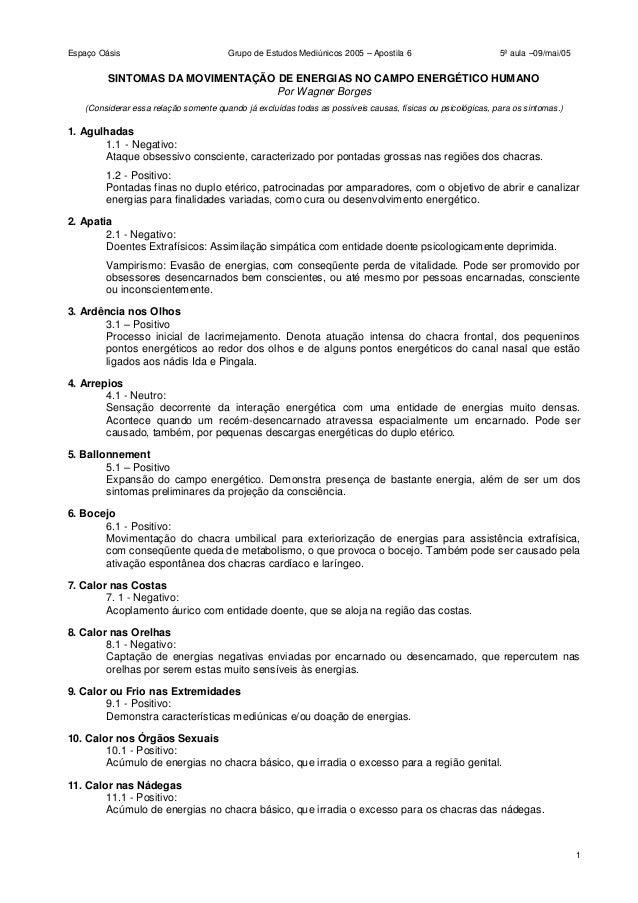 Espaço Oásis Grupo de Estudos Mediúnicos 2005 – Apostila 6 5ª aula –09/mai/05 1 SINTOMAS DA MOVIMENTAÇÃO DE ENERGIAS NO CA...