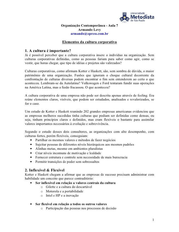 Organização Contemporânea - Aula 7                                   Armando Levy                              armando@epr...