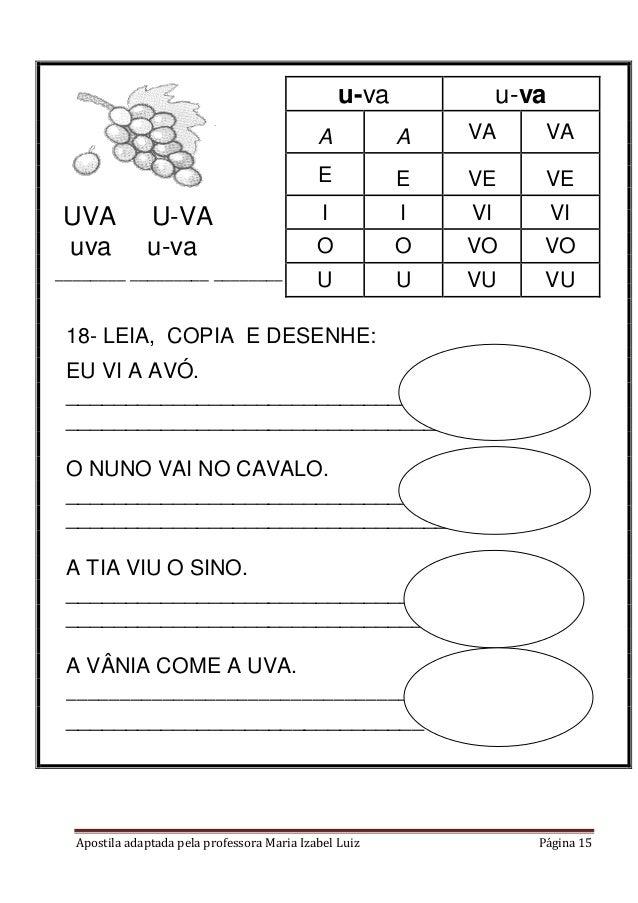 Apostila adaptada pela professora Maria Izabel Luiz Página 15 18- LEIA, COPIA E DESENHE: EU VI A AVÓ. ____________________...