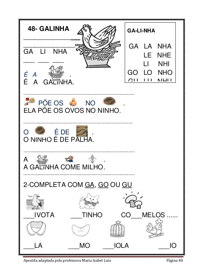 Apostila adaptada pela professora Maria Izabel Luiz Página 40 48- GALINHA ______________________ ______________________ GA...
