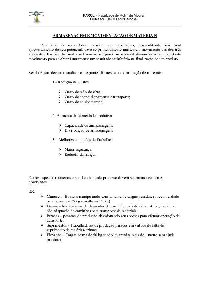 FAROL – Faculdade de Rolim de Moura                                   Professor: Flávio Lecir Barbosa              ARMAZEN...