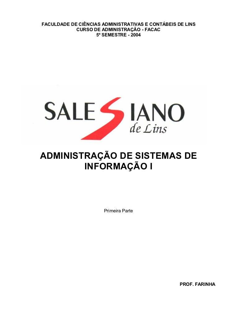 FACULDADE DE CIÊNCIAS ADMINISTRATIVAS E CONTÁBEIS DE LINS            CURSO DE ADMINISTRAÇÃO - FACAC                    5º ...