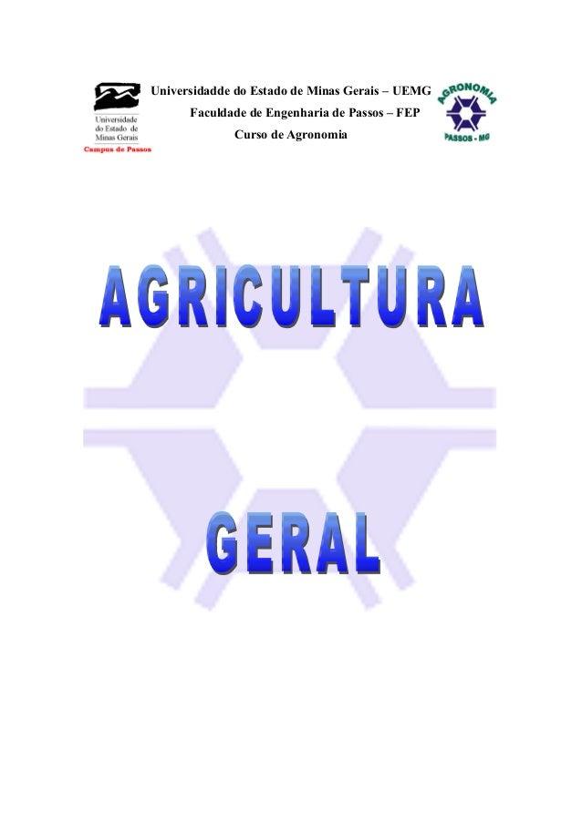 Universidadde do Estado de Minas Gerais – UEMG Faculdade de Engenharia de Passos – FEP Curso de Agronomia