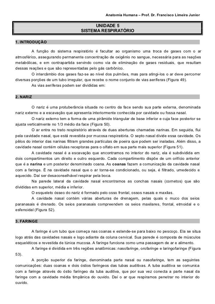 Anatomia Humana – Prof. Dr. Francisco Limeira Junior                                           UNIDADE 5                  ...