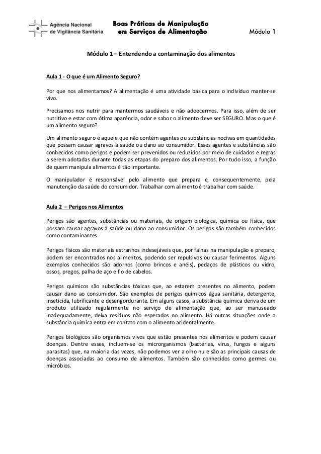 [Type  text]   Boas Práticas de Manipulação em Serviços de Alimentação Módulo 1         Módulo  1  –  Ente...