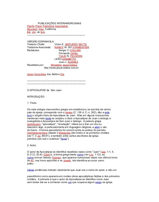 PUBLICAÇÕES INTERAMERICANAS Pacific Press Publishing Association Mountain View, Califórnia EE. UU. do N.A. ---------------...