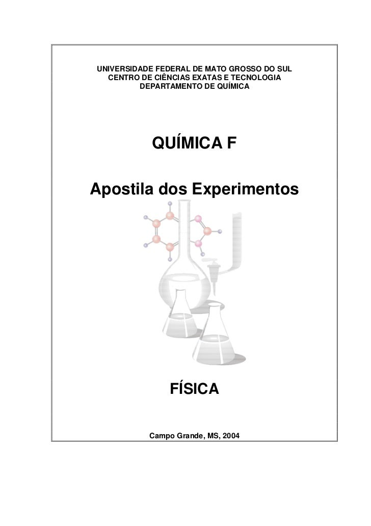 UNIVERSIDADE FEDERAL DE MATO GROSSO DO SUL  CENTRO DE CIÊNCIAS EXATAS E TECNOLOGIA         DEPARTAMENTO DE QUÍMICA        ...