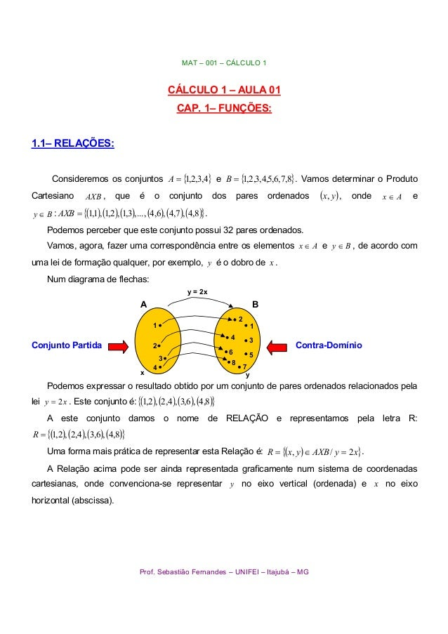 MAT – 001 – CÁLCULO 1 Prof. Sebastião Fernandes – UNIFEI – Itajubá – MG CÁLCULO 1 – AULA 01 CAP. 1– FUNÇÕES: 1.1– RELAÇÕES...