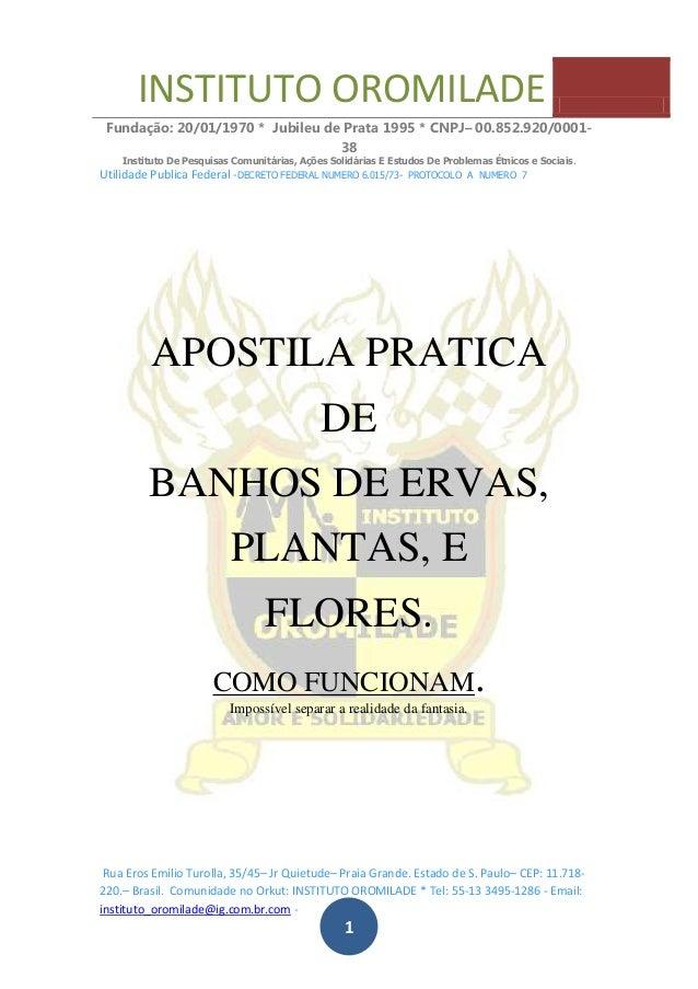 INSTITUTO OROMILADE Fundação: 20/01/1970 * Jubileu de Prata 1995 * CNPJ– 00.852.920/0001- 38 Instituto De Pesquisas Comuni...