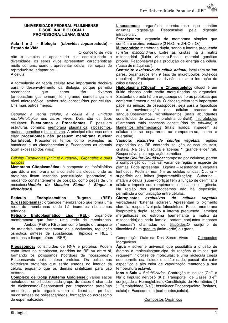 Pré-Universitário Popular da UFF          UNIVERSIDADE FEDERAL FLUMINENSE                         Lisossomos: organóide me...