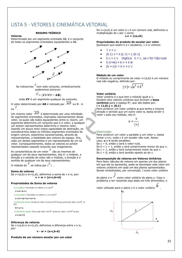 21 LISTA 5 - VETORES E CINEMÁTICA VETORIAL RESUMO TEÓRICO Vetores Determinado por um segmento orientado AB, é o conjunto d...