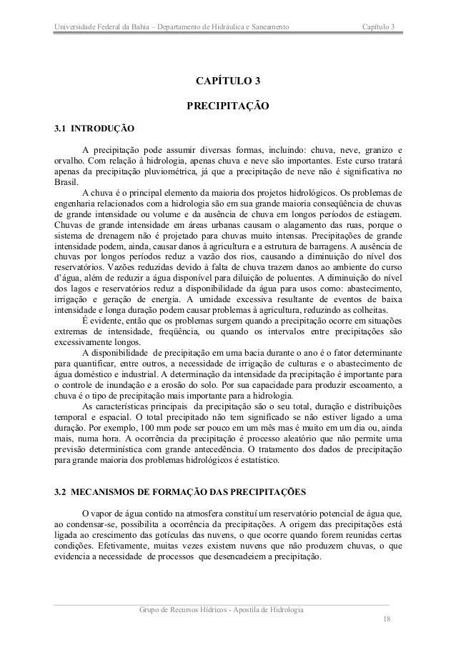 Universidade Federal da Bahia – Departamento de Hidráulica e Saneamento Capítulo 3  Grupo de Recursos Hídricos - Apostila ...