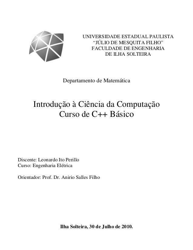 """UNIVERSIDADE ESTADUAL PAULISTA  """"JÚLIO DE MESQUITA FILHO""""  FACULDADE DE ENGENHARIA  DE ILHA SOLTEIRA  Departamento de Mate..."""