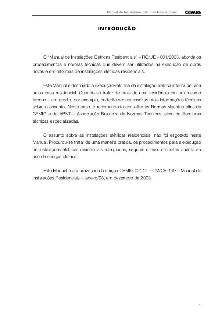 """Manual de Instalações Elétricas Residenciais                                 INTRODUÇÃO     O """"Manual de Instalações Elétr..."""