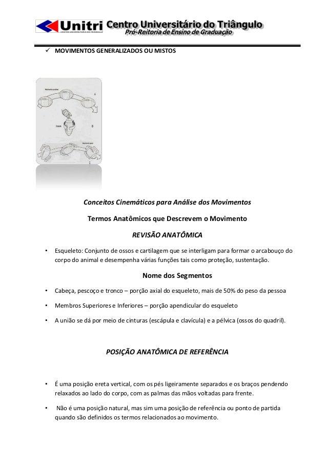  MOVIMENTOS GENERALIZADOS OU MISTOS               Conceitos Cinemáticos para Análise dos Movimentos                Termos...