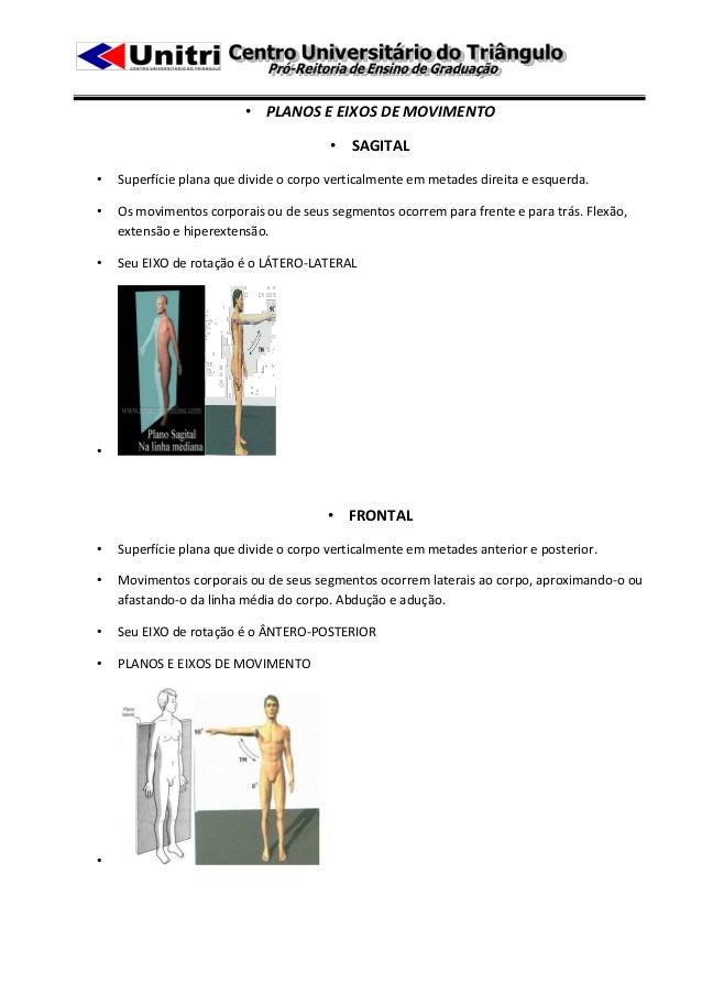 • PLANOS E EIXOS DE MOVIMENTO                                        • SAGITAL•   Superfície plana que divide o corpo vert...