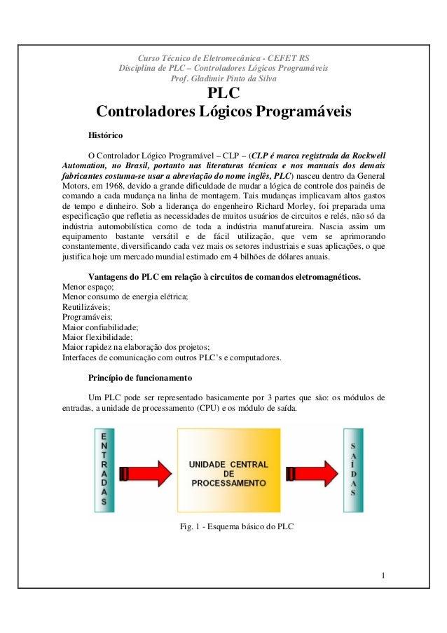 Curso Técnico de Eletromecânica - CEFET RS Disciplina de PLC – Controladores Lógicos Programáveis Prof. Gladimir Pinto da ...