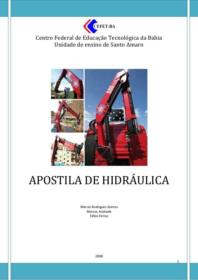 Centro Federal de Educação Tecnológica da Bahia        Unidade de ensino de Santo AmaroAPOSTILA DE HIDRÁULICA             ...