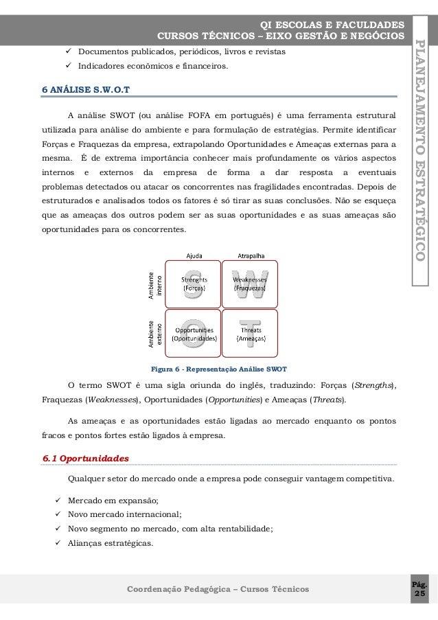  Documentos publicados, periódicos, livros e revistas  Indicadores econômicos e financeiros.  6 ANÁLISE S.W.O.T A anális...