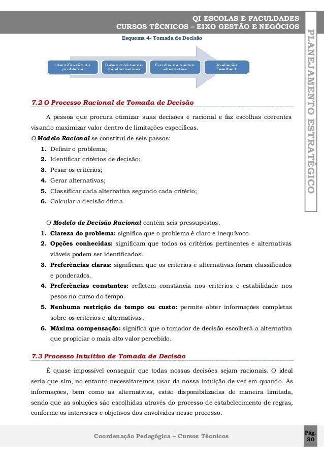 Esquema 4- Tomada de Decisão  7.2 O Processo Racional de Tomada de Decisão A pessoa que procura otimizar suas decisões é r...