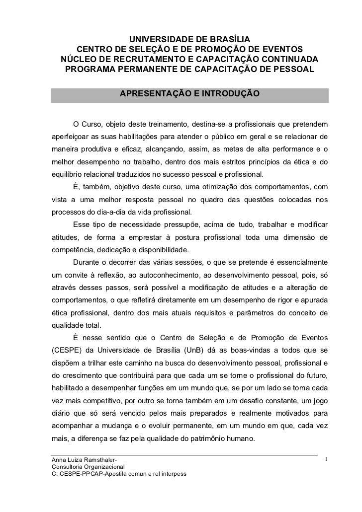 UNIVERSIDADE DE BRASÍLIA      CENTRO DE SELEÇÃO E DE PROMOÇÃO DE EVENTOS   NÚCLEO DE RECRUTAMENTO E CAPACITAÇÃO CONTINUADA...