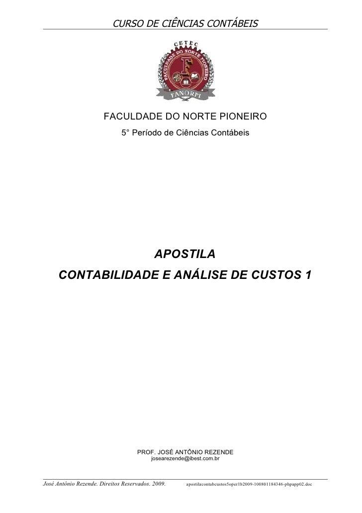 CURSO DE CIÊNCIAS CONTÁBEIS                            FACULDADE DO NORTE PIONEIRO                               5° Períod...