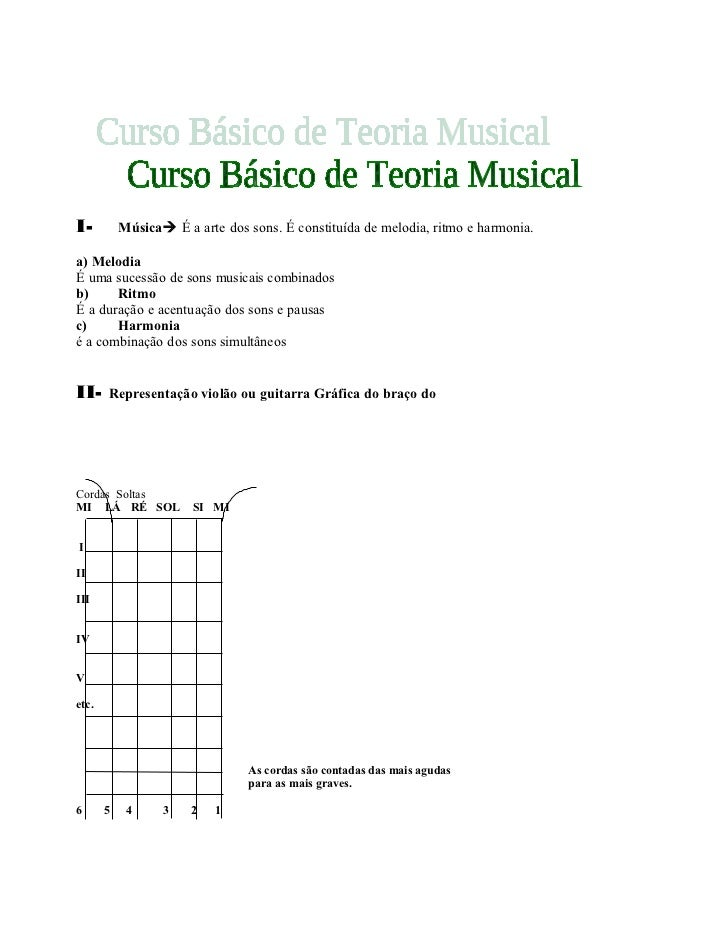 I-         Música É a arte dos sons. É constituída de melodia, ritmo e harmonia.a) MelodiaÉ uma sucessão de sons musicais...