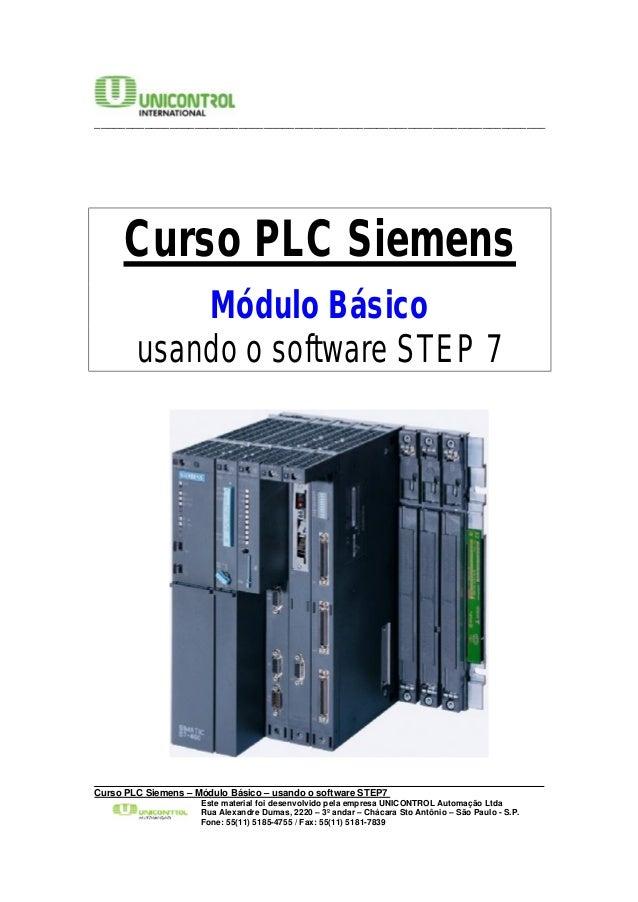 ________________________________________________________________________  Curso PLC Siemens  Módulo Básico  usando o softw...