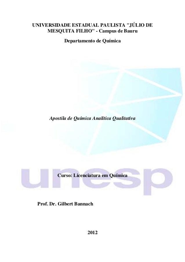 """UNIVERSIDADE ESTADUAL PAULISTA """"JÚLIO DE     MESQUITA FILHO"""" - Campus de Bauru             Departamento de Química      Ap..."""
