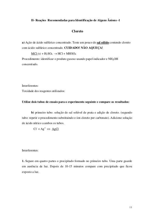 II- Reações Recomendadas para Identificação de Alguns Ânions -1                                       Cloretoa) Ação de ác...