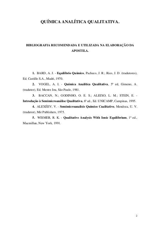 QUÍMICA ANALÍTICA QUALITATIVA.  BIBLIOGRAFIA RECOMENDADA E UTILIZADA NA ELABORAÇÃO DA                                     ...
