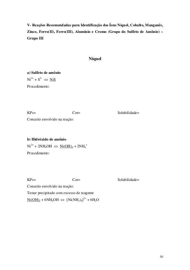 V- Reações Recomendadas para Identificação dos Íons Níquel, Cobalto, Manganês,Zinco, Ferro(II), Ferro(III), Alumínio e Cro...