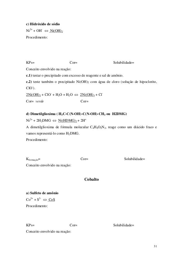 c) Hidróxido de sódioNi2+ + OH- ⇔ Ni(OH)2Procedimento:KPs=                         Cor=                          Solubilid...