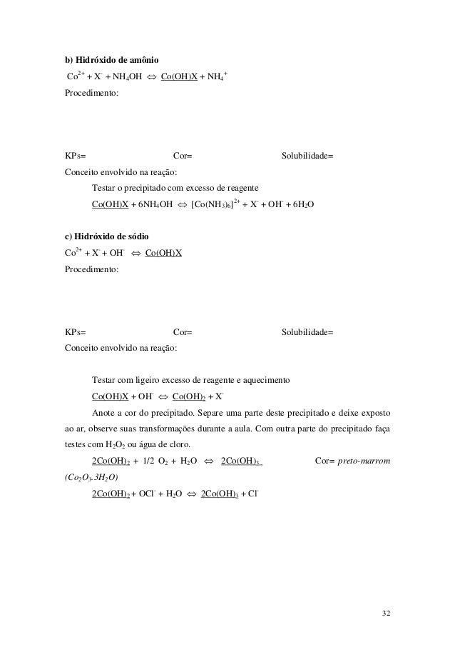 b) Hidróxido de amônioCo2+ + X- + NH4OH ⇔ Co(OH)X + NH4+Procedimento:KPs=                        Cor=                     ...