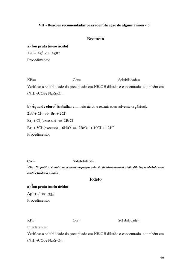 VII - Reações recomendadas para identificação de alguns ânions - 3                                            Brometoa) Ío...