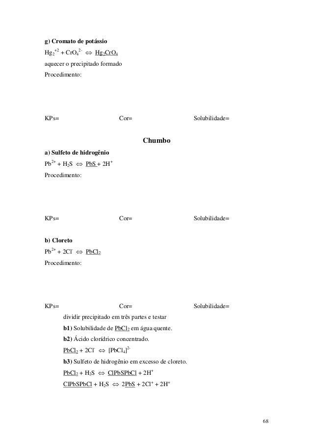 g) Cromato de potássioHg2+2 + CrO42- ⇔ Hg2CrO4aquecer o precipitado formadoProcedimento:KPs=                          Cor=...
