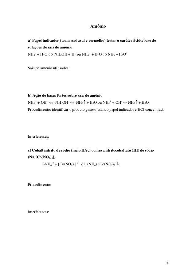 Amônioa) Papel indicador (tornassol azul e vermelho) testar o caráter ácido/base desoluções de sais de amônioNH4+ + H2O ⇔ ...