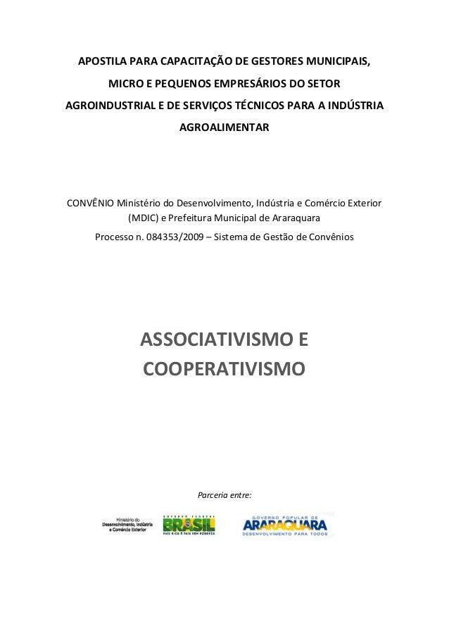 APOSTILA PARA CAPACITAÇÃO DE GESTORES MUNICIPAIS, MICRO E PEQUENOS EMPRESÁRIOS DO SETOR AGROINDUSTRIAL E DE SERVIÇOS TÉCNI...