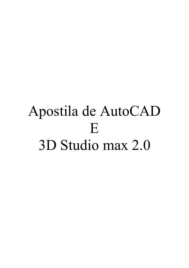 Apostila de AutoCAD E 3D Studio max 2.0