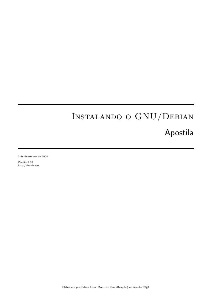 Instalando o GNU/Debian                                                                                           Apostila...