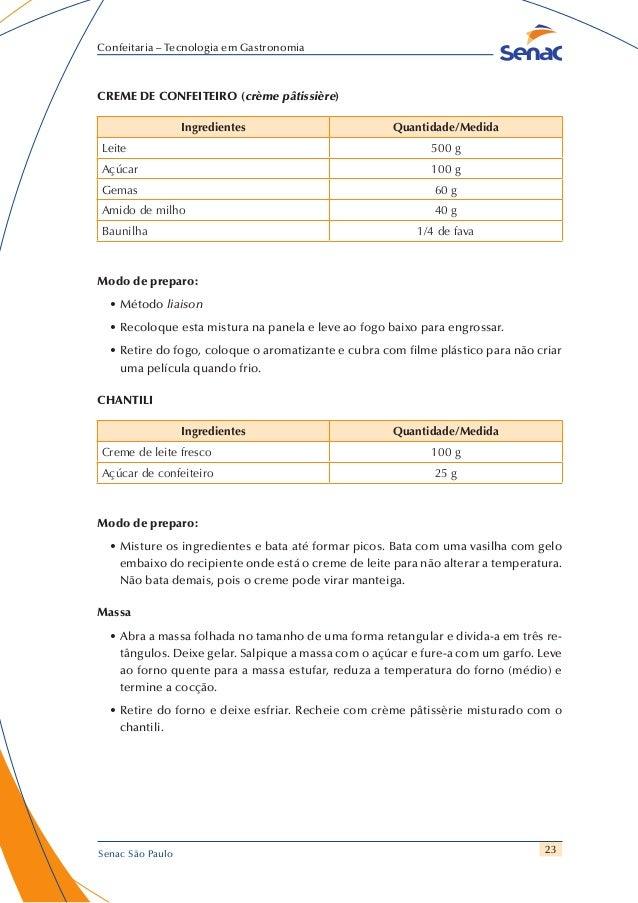 23 Confeitaria – Tecnologia em Gastronomia Senac São Paulo CREME DE CONFEITEIRO (crème pâtissière) Ingredientes Quantidade...