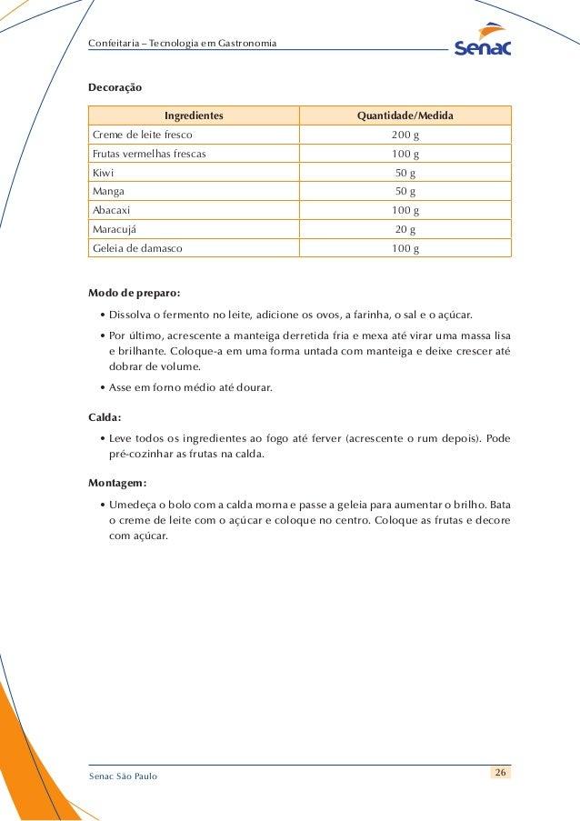 26 Confeitaria – Tecnologia em Gastronomia Senac São Paulo Decoração Ingredientes Quantidade/Medida Creme de leite fresco ...