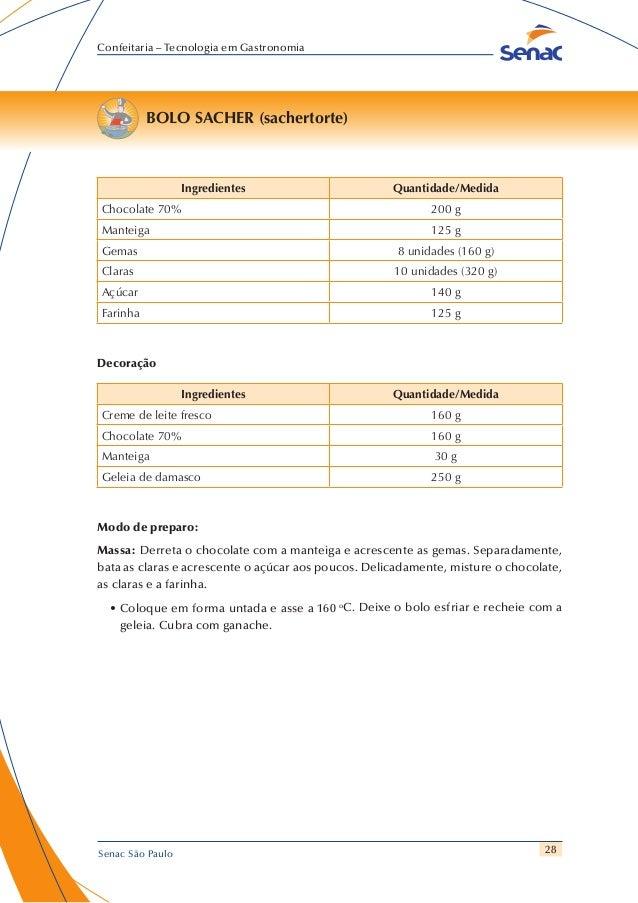28 Confeitaria – Tecnologia em Gastronomia Senac São Paulo BOLO SACHER (sachertorte) Ingredientes Quantidade/Medida Chocol...