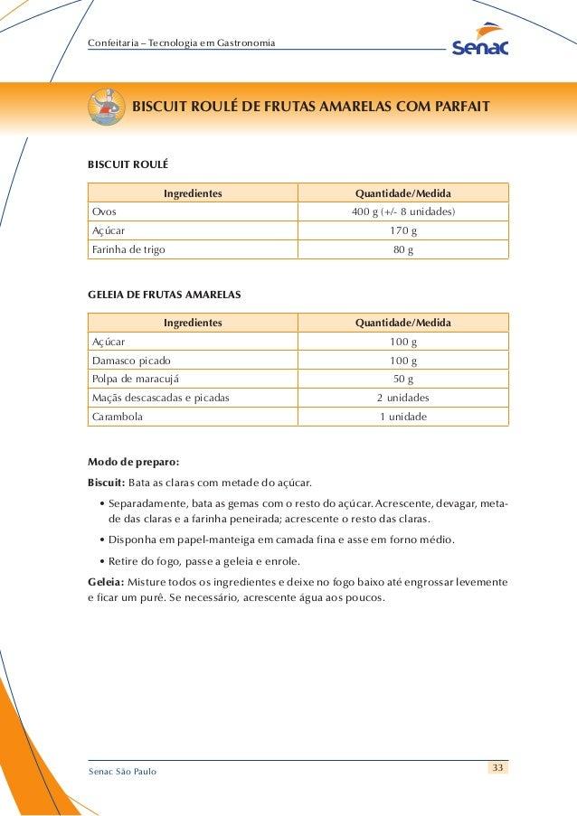 33 Confeitaria – Tecnologia em Gastronomia Senac São Paulo BISCUIT ROULÉ DE FRUTAS AMARELAS COM PARFAIT BISCUIT ROULÉ Ingr...