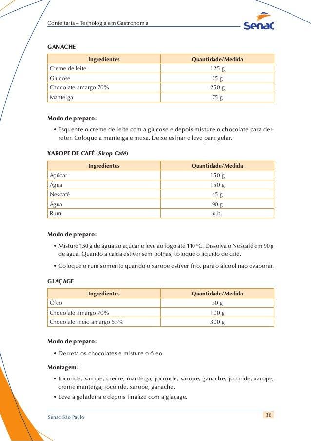 36 Confeitaria – Tecnologia em Gastronomia Senac São Paulo GANACHE Ingredientes Quantidade/Medida Creme de leite 125 g Glu...