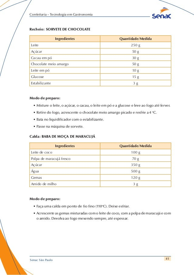 41 Confeitaria – Tecnologia em Gastronomia Senac São Paulo Recheio: SORVETE DE CHOCOLATE Ingredientes Quantidade/Medida Le...