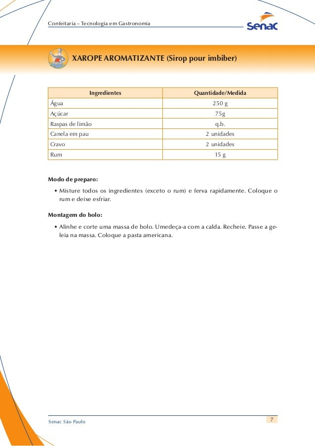 7 Confeitaria – Tecnologia em Gastronomia Senac São Paulo XAROPE AROMATIZANTE (Sirop pour imbiber) Ingredientes Quantidade...